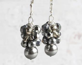 Black Beaded Cluster Earrings on Silver Plated Hooks
