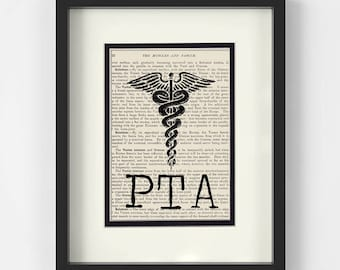 Physical Therapist Assistant - PTA over Vintage Medical Book Page - Gift for Physical Therapist Assistant, PTA Gift