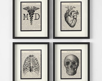 Gift For Doctor, Doctor Graduation Gift - Set of 4 Prints - MD, Heart, Chest, Skull over Vintage Medical Book Pages - Doctor Graduation Gift