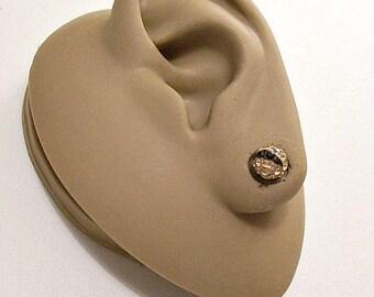 Sterling Silver Marked 925 Gold Black Crystal Rhinestone Encrusted 6mm Bead Pierced Post Stud Earrings Vintage Clear Faceted Stones