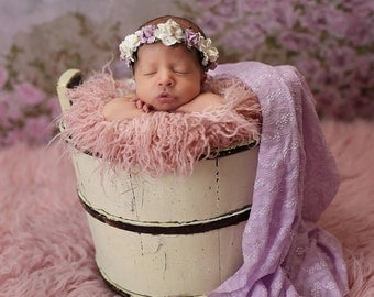 Lavender and Ivory White Newborn Flower Crown - Baby Flower Crown -  Floral Crown Soft Headband - Lilac