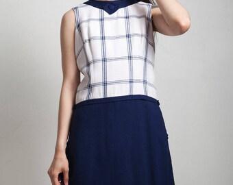 vintage 60s mod scooter mini skirt utility dress navy blue white plaid MEDIUM M