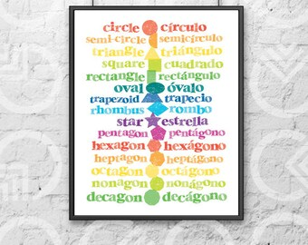 """Instant Download - Printable - 8""""x10"""" Art Print - Spanish and English Shapes - Nursery Decor - Bilingual Baby - Colorful - Educational"""