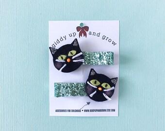 Halloween Hair Bows Black Kitty Hair Clips Fall, Halloween Kids Bows, giddyupandgrow