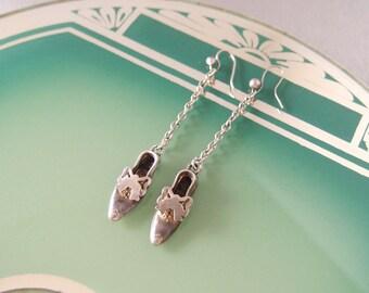 antique Victorian Silver Shoe Earrings low heeled Regency Slipper Bow dangle chain dainty drop pierced ear wires 1860s Novelty Jewelry