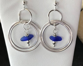 Sterling Sea Glass Earrings - Lake Erie Beach Glass Earrings - Cobalt Blue Earrings - Blue Glass Earrings - FREE Shipping inside the US