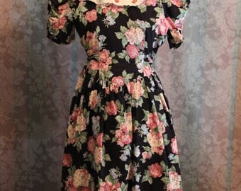 Sz XS Micro Petite Vintage Baby Doll Floral Lolita Dress Wide Collar with Petticoat