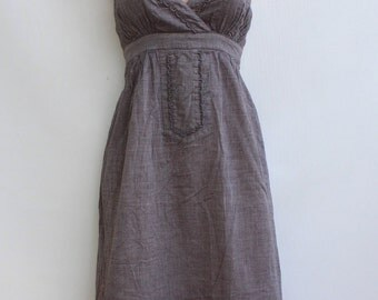 Vintage Brown 100% Cotton PART TWO Strap Empire Smock Knee Length Ladies Sundress Tunic Size UK 12