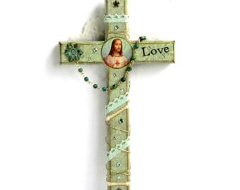 Decoupaged Wall Cross Decorated Crucifix Sacred Heart of Jesus Light Sage Green Catholic Art Christian Art Mixed Media Religious Gift