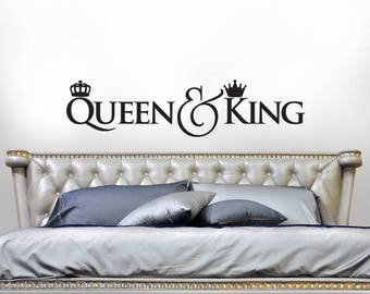 Queen & King Crown Decor, Bedroom Decor Wall Decal, Gift for Couple, Headboard Vinyl Wall Decal, Script Font Decal (01711bN)