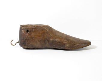 Antique Wood Shoe Form, Wooden Last, Primitive Shoemaking Mold