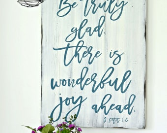 Joy Sign, Rustic Sign, Farmhouse Decor, Wooden Sign, Bible Verse Decor