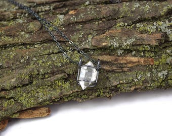 Genuine Herkimer Diamond Necklace - Herkimer Diamond Jewelry - Raw Herkimer Crystal Cage Necklace - Herkimer Jewelry - Large Crystal R