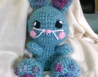 Crochet fuzzy bunny ANY colors you want Can rattle too Ready to ship