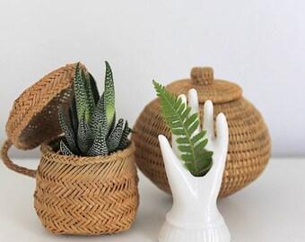Vintage Miniature White Porcelain Hand Vase