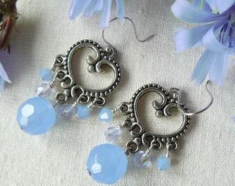 Chandelier Heart Earrings With Blue Glass Beads