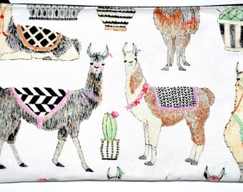 Large Llama Coin Purse Zipper Pouch Wallet ID Card Holder Zippered Pouch Change Purse Gift Idea