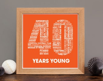 40th Birthday Print - Fortieth Birthday Personalized Print - Fourtieth Birthday Print - Personalised Birthday Print for Her or Him