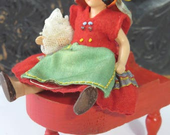 German Dollhouse Character Doll, Bisque, Folk Costume, Hertwig