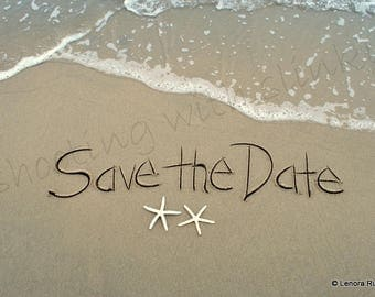 SAVE THE DATE, Wedding, Engagement, Party, Invitations, Writing in the Sand, Instant Download