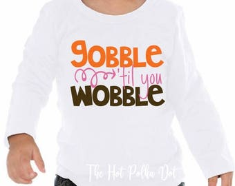 Toddler Gobble til You Wobble Girls Thanksgiving Shirt or Infant Bodysuit, Girl Fall Thanksgiving Outfit Baby Bodysuit - Pumpkin Spice Baby