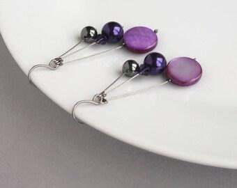 Purple Floating Pearl Earrings - Royal Purple Dangle Earrings - Three Strand Drop Earrings - Bridesmaids Jewelry - Purple Bridal Party Gifts