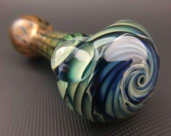 Vortex Glass Pipe // Hand Blown Lake Green Spoon // Wrap & Rake