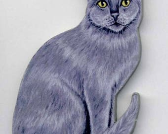 GRAY CAT Wooden MAGNET - Hand Crafted!