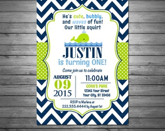 Whale Birthday Party invitation - Printable File, Personalized, Navy Blue Chevron, Whale Birthday, Navy and Green