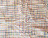 Colorful Plaid on White Light Weight Cotton Polyester Shirting Fabric 1 Yard X1241