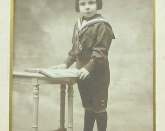 Vintage French Photograph - Young Boy in a Sailor Suit