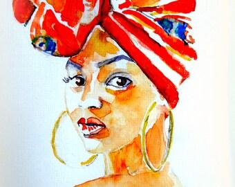 "Original handpainted watercolour card. ""Caraibian Woman""."