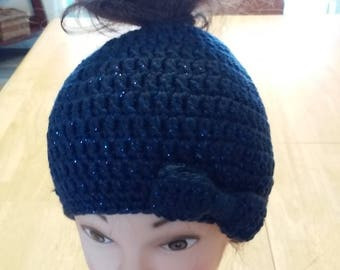 Ponytail Beanie With Bow - Navy Blue Sparkles