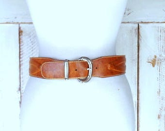 Vintage wide tan brown leather saddle belt/Les Capain leather belt/small/medium