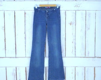 90s  blue jean denim boot cut/flare stretch jeans/JW Maxx low rise jeans