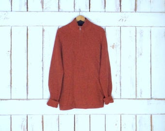 90s rust orange lambswool/cashmere ribbed Banana Republic pullover zipper sweater/grey elbow patch sweater/large