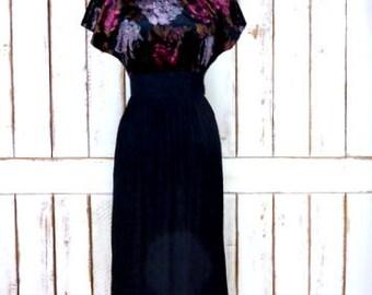 Vintage long black purple floral velour velvet cap sleeve fitted dress/Choon California dress/small