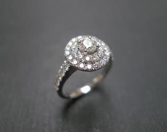 Diamond Engagement Ring / Marquise Diamond Ring /  Double Halo Diamond Ring  / Double Halo Setting / Diamond Band / Diamond Wedding Band