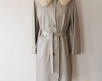 Golet Original Light Grey Leather coat with fur trim collar
