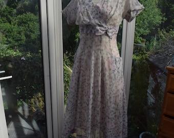 "1950s-60s Original Sheer Pastel Floral Day Dress sz 38"""