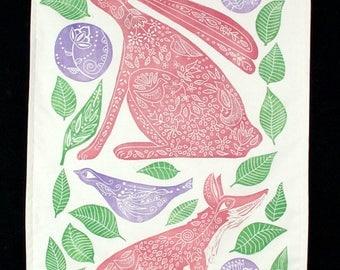 linocut, wall hanging, fox, hare, pink, nursery decor, cotton fabric, hand printed, one of a kind, original art, printmaking, purple, green