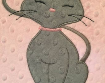 Baby blanket, cat blanket, kitty blanket, kitty, cat, 29 x 35, pick your colors personalized