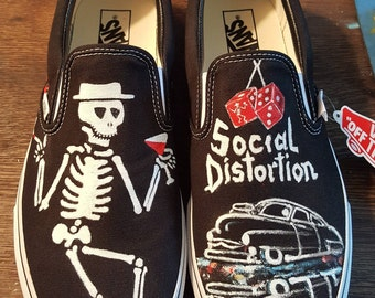 SOCIAL DISTORTION Hand painted custom designed Shoes Sneakers  Band Music  Punk Rock  Vans Converse Toms