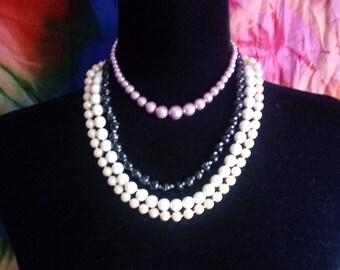 Vintage Multi color FAUX pearl necklace lot