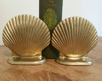 Pair of Brass Seashell Bookends Shelf Decor