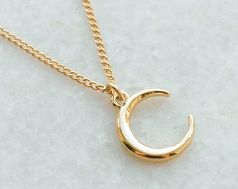 Moon Necklace . Gold Half Moon Crescent Pendant . Celestial Charm . Simple Womens Jewellery . Ladies Jewelry . Gifts for Her