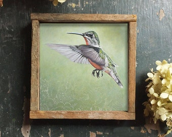 Hummingbird Art, Hummingbird Wall Art with Optional Reclaimed Wood Frame, Square Wall Prints, Framed Art Print, Hummingbird Gift