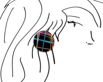 New Wave 1980s Vintage Stud Earrings - neon lines