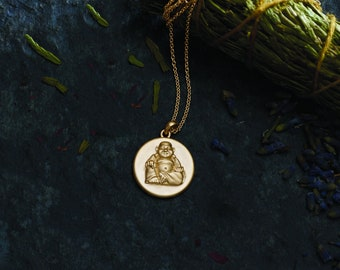 Solid Gold Buddha Medallion Pendant Necklace - Yoga Jewelry. 14k, 18k Yellow, Rose, White Gold & Platinum. Spiritual Gift Ideas