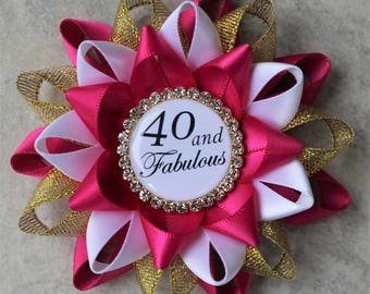 40th Birthday Gifts for Women, 40 and Fabulous, 40th Birthday Pin, 40th Birthday Party Decorations, Fortieth, Fuchsia, Gold, White